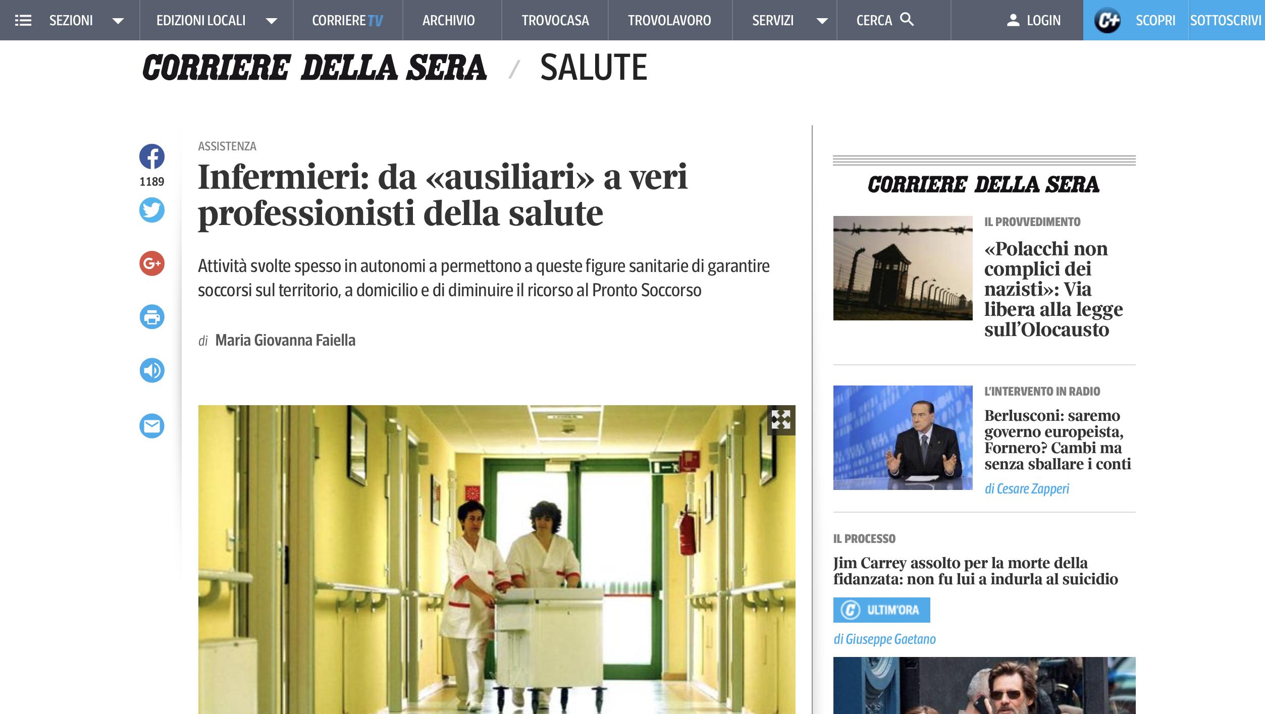 NEWS Infermieri di famiglia e comunità sul Corriere.it