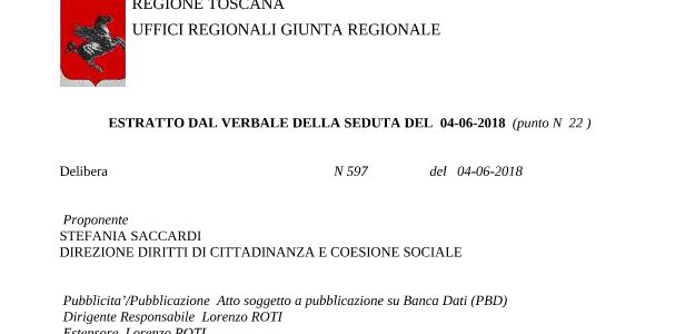 """Delibera 597 del 4-6-2018 Regione Toscana: """"Indirizzi sullo sviluppo del modello assistenziale Infermiere di famiglia e di Comunità"""""""