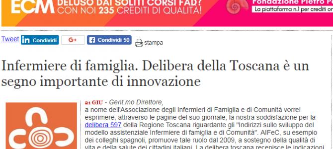 Toscana, riconosciuta la necessità di implementare la figura dell'Infermiere di Famiglia e Comunità