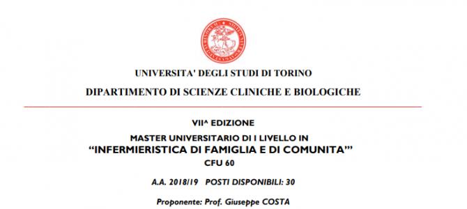 Master in Infermieristica di Famiglia e Comunità, ecco il bando dell'Università degli Studi di Torino