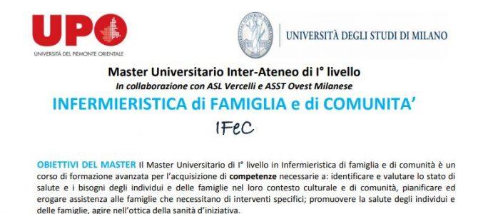 Master Universitario in Infermieristica di Famiglia e Comunità, ecco il bando dell'Università del Piemonte Orientale e dell'Università degli Studi di Milano