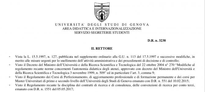 """Master Universitario di I livello in """"Assistenza Infermieristica di Famiglia e Comunità"""" – I edizione, ecco il bando dell'Università degli Studi di Genova"""