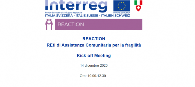 Meeting REACTION REti di Assistenza Comunitaria per la fragilità – 14 dicembre 2020
